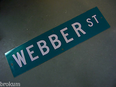 "Vintage ORIGINAL WEBBER ST STREET SIGN WHITE ON GREEN BACKGROUND 36"" X 9"""