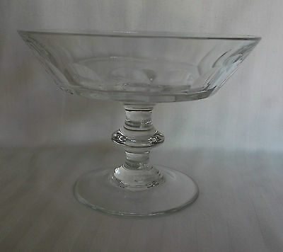 Val St. Lambert Glass Footed Compote Candy Dish Signed