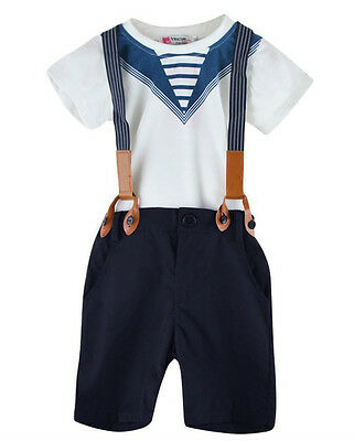 BABY BOY TODDLER 3 PIECE SET OUTFIT T-SHIRT SHORTS Suspenders Navy