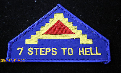 7 STEPS TO HELL 7TH ARMY HAT PATCH GENERAL PATTON WORLD WAR 2 EUROPE US ARMY USA