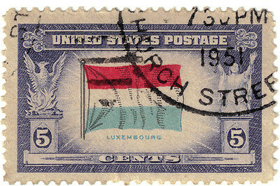 (USA240) 1943 5c flag of Luxembourg ow909