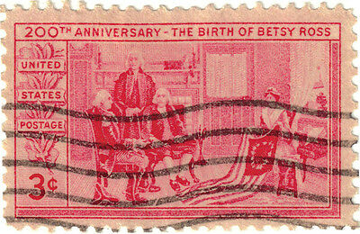 (USA324) 1952 3c red Betsy Ross & flag ow1001