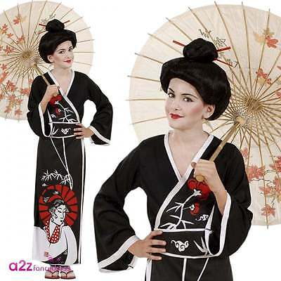 Girls Japanese Geisha Costume Oriental Book Day Far Eastern Chinese Fancy Dress
