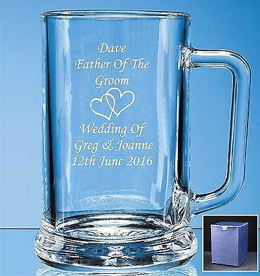 Personalised Engraved Pint Glass Tankard Wedding Father Of The Bride Gift Box