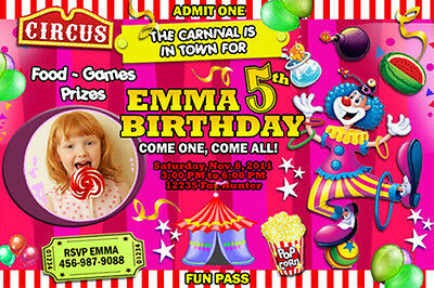 CIRCUS CARNIVAL CLOWN BIRTHDAY PARTY INVITATION PHOTO 1ST - n4 - POPCORN TENT
