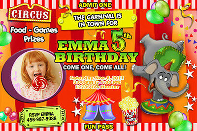 CIRCUS CARNIVAL CLOWN BIRTHDAY PARTY INVITATION PHOTO 1ST - n22 - elephant cards