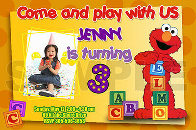 20 designs! ELMO SESAME STREET BIRTHDAY PARTY INVITATION PHOTO 1ST INVITES FIRST