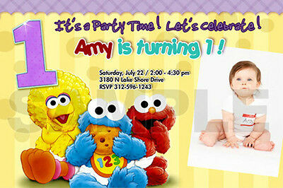 ELMO SESAME STREET BIRTHDAY PARTY INVITATION PHOTO 1ST BABY CUSTOM INVITES - n4