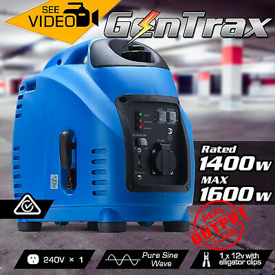 NEW GenTrax Rated 1.4kVA Max 1.6KW Pure Sine Inverter Generator Portable Petrol