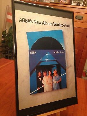 "1 BIG 11X17 FRAMED ORIGINAL & RARE ABBA LP ALBUM CD ""PROMO AD"" - choose from 12!"