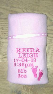 Baby Girl Embroidered Pink /White Personalised babys detail Pram / Crib Blanket
