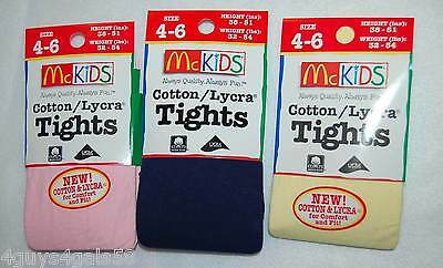 McKids FASHION TIGHTS 4-6 Girls 3 PAIR Pink NAVY BLUE Yellow