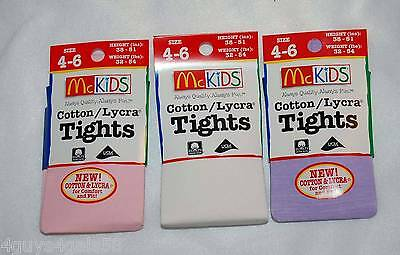 McKids FASHION TIGHTS 4-6 Girls 3 PAIR Pink WHITE Light Purple