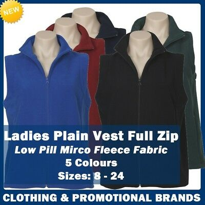 Ladies Poly Micro Fleece Vest Pockets Size 8 - 24 Casual Business New Zip PF905