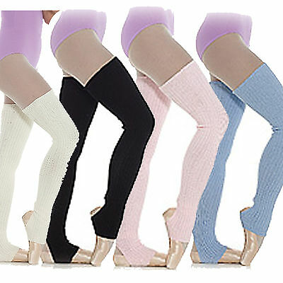 Long Stirrup Leg Warmers Ballet  Dance Warm up Ribbed Blue Pink White Black 90cm