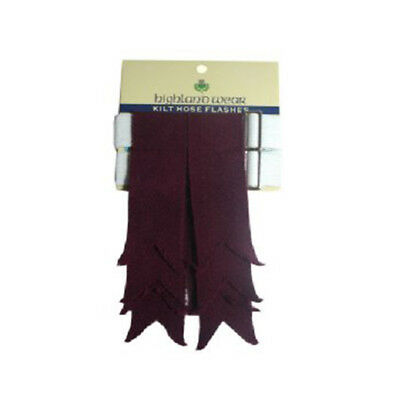 New Mens Maroon/Burgundy 100% Acrylic Wool Kilt Hose Flashes with Garters