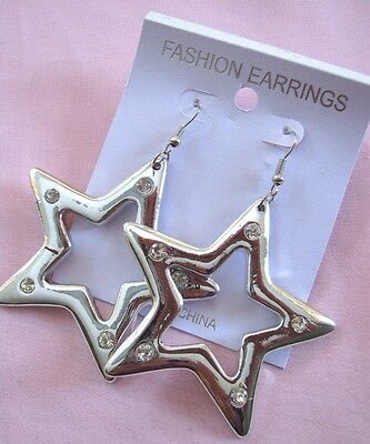 Bulk Lot x 10 Pairs Budget Silver Tone Large Acrylic Star Earrings New Wholesale