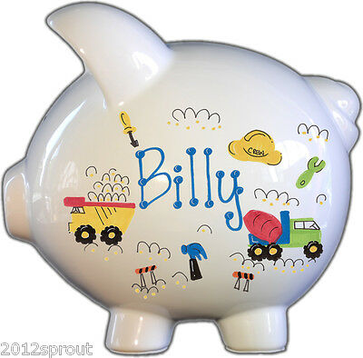 Hand-Painted Personalized Large Roadwork Ceramic Piggy Bank