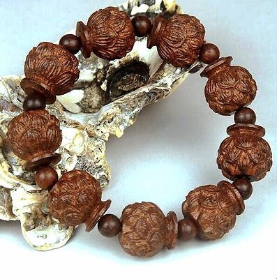 Black sandalwood carving lotus beads Tibetan Buddhism Amulet Bracelet