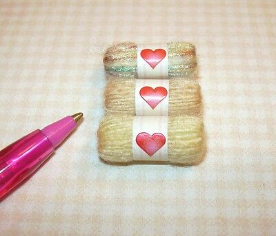 Miniature Skeins of Yarn, 3 Shades of YELLOW: DOLLHOUSE Miniatures 1/12 Scale