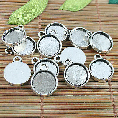 40pcs Tibetan silver round shaped cabochon settings charms h2876