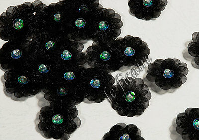 """1"""" Double Layer Organza Sequin Beaded Daisy Flower Appliques x 60 Black #1581"""