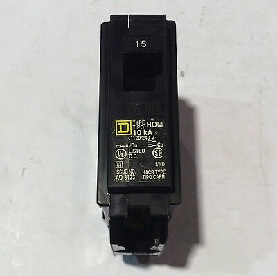 HOM115 Square D Type HOM Circuit Breaker 1 Pole 15 Amp 240V (2 YEAR WARRANTY)