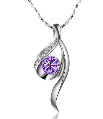 Amethyst&Austrian Crystal Unique Style 18K White Gold Plated Necklace K054-2-48