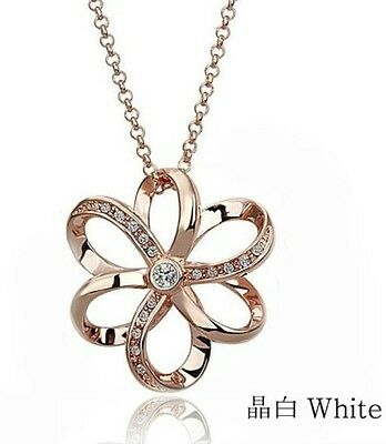 White Sapphire&Austrian Crystal Unique Style 18K Gold Plated Necklace K158-1