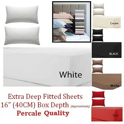 "Extra Deep Fitted Sheet 16""/40CM Egyptian Cotton Single 4ft Small Double King"