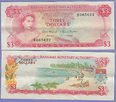 Bahamas 3 Dollars Banknote 1968 Extra Fine Condition Cat#28-5622