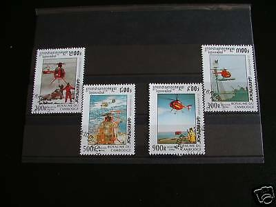 Timbres Helicopteres : Serie Complete Du Cambodge 1996 / Stamps Helicopters