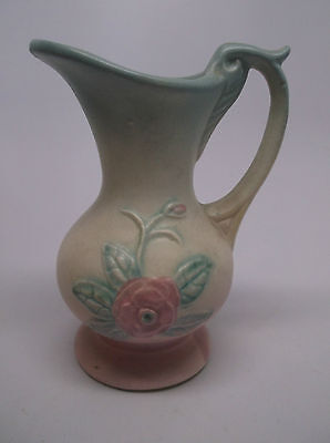 """Vintage Hull Pottery 4 3/4"""" Small Pitcher In Green & Pink W/ Yellow Flower"""
