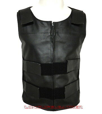 Men's Bullet Proof Style Zipper Leather Motorcycle Vest Small To 6XL LLL-219