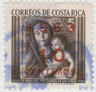 (CR89) 1963 Costa Rica 10c on 5c surcharge Sepia ow661