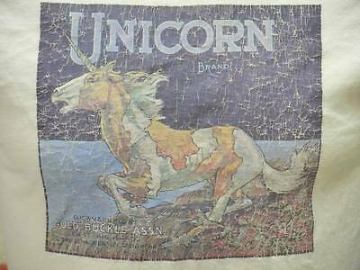 70s 80s Vintage Unicorn Brand Gold Buckle Advertising Promo Crate T Shirt S