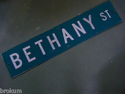 "Vintage ORIGINAL BETHANY ST STREET SIGN 42"" X 9"" WHITE LETTERING ON GREEN"