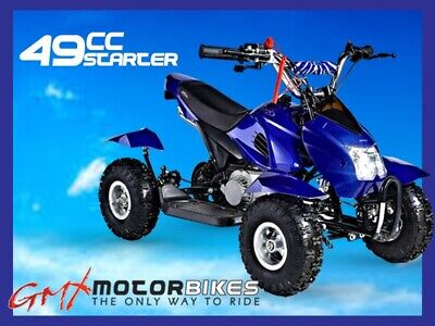 Gmx 49Cc Starter Mini Quad Bike Atv Buggy Kids 4 Wheeler Pocket Blue