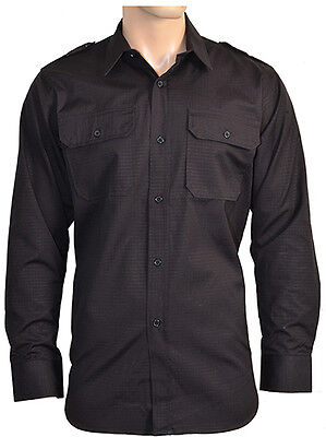 Black Ripstop Field Shirt - Military Cotton Army Tactical All Sizes New