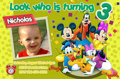 23 designs!! MICKEY MOUSE 1ST BIRTHDAY PARTY INVITATION v1 PHOTO first INVITE