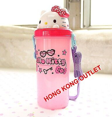 Hello Kitty Drink Water Bottle with Pop Up Straw with Cap Sanrio Pink F41b