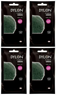 4 X PACKS OF FOREST GREEN DYLON FABRIC & CLOTHES DYE HAND USE 50g / 1.75oz