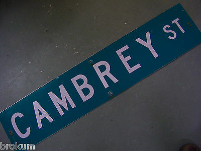 "Vintage ORIGINAL CAMBREY ST STREET SIGN 42"" X 9"" WHITE LETTERING ON GREEN"