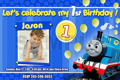 14 designs !! THOMAS THE TANK TRAIN 1ST BIRTHDAY PARTY INVITATION cards first e3