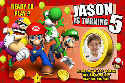 10 designs! SUPER MARIO BROS BIRTHDAY PARTY INVITATION PHOTO BROTHERS cards 1st