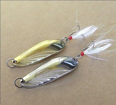 10PCS Fishing  Spoon Lure Treble feather Hook Spinner baits golden silvery color