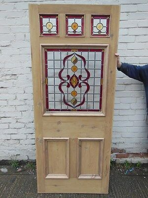 Victorian Edwardian Reclaimed Front Exterior Doors With Stained Glass Ribbon