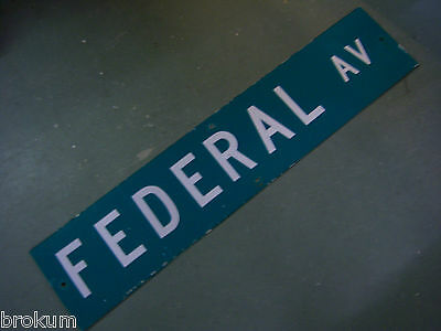 "Vintage ORIGINAL FEDERAL AV STREET SIGN 42"" X 9"" WHITE LETTERING ON GREEN"