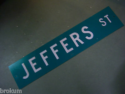 "Vintage ORIGINAL JEFFERS ST STREET SIGN 42"" X 9"" WHITE LETTERING ON GREEN"