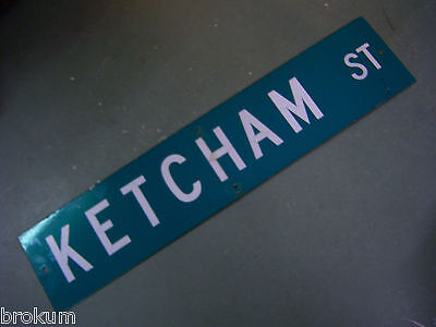 "Vintage ORIGINAL KETCHAM ST STREET SIGN 42"" X 9"" WHITE LETTERING ON GREEN"